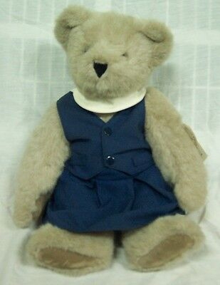 "Vermont Teddy Bear Company TAN BEAR IN BLUE DRESS 17"" Plush STUFFED ANIMAL NEW"