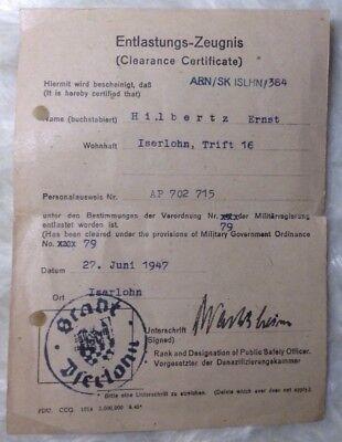 Entlastungs-Zeugnis 1947 Iserlohn Militärregierung Militär