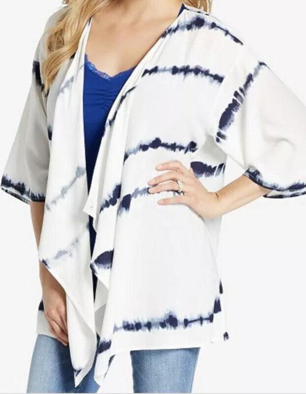 Jessica Simpson Tie Dye Nursing Kimono Top Maternity Cardigan Blue White S M