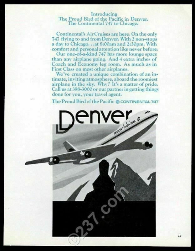 1971 Continental Airlines Boeing 747 plane over Colorado vintage print ad