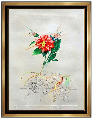 Salvador Dali Dahlia Unicornis Color Etching Hand Signed Floral Dalinae Artwork