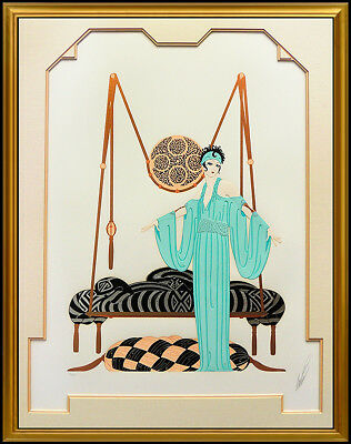 Erte Pillow Swing Color Serigraph Large Signed Art Deco Costume Set Design SBO