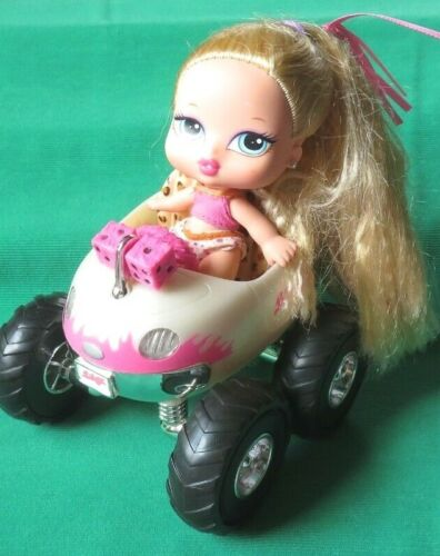 "BRATZ BABYZ 5"" CLOE hair flair doll + pink MONSTER TRUCK w/ BOTTLE POP CAN  lot"