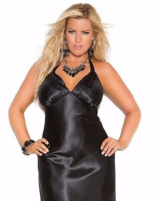 Women Plus Long Nightgown 3X Black Charmeuse Satin Halter Lingerie Nightie Sexy  - Lingerie Sexy Charmeuse Long Gown