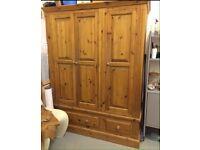Large Pine wardrobe with drawers