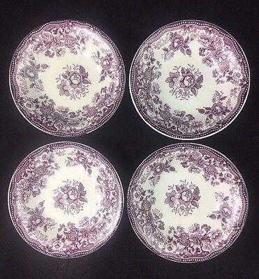 "Set of 4 Royal Staffordshire England TONQUIN Plum 4 7/8"" Dessert / Berry Bowls"