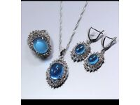 T Station Trendy Natural Blue Zircon 925 Sterling Silver Jewelry Sets Earrings Necklace Pendant Ring