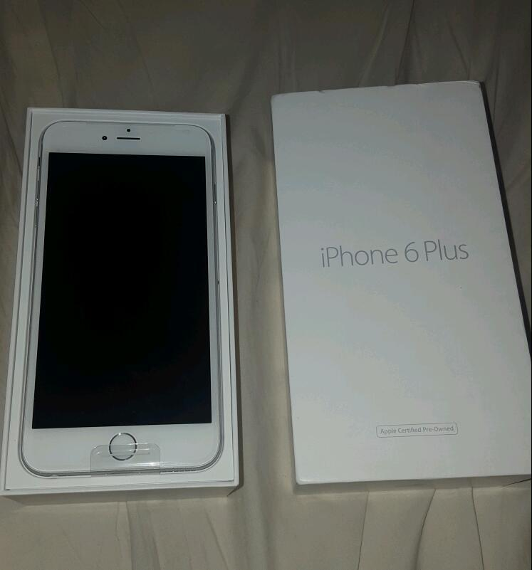 iphone 6 plus white. apple iphone 6 plus + 64gb white/silver brand new phone and box only iphone white