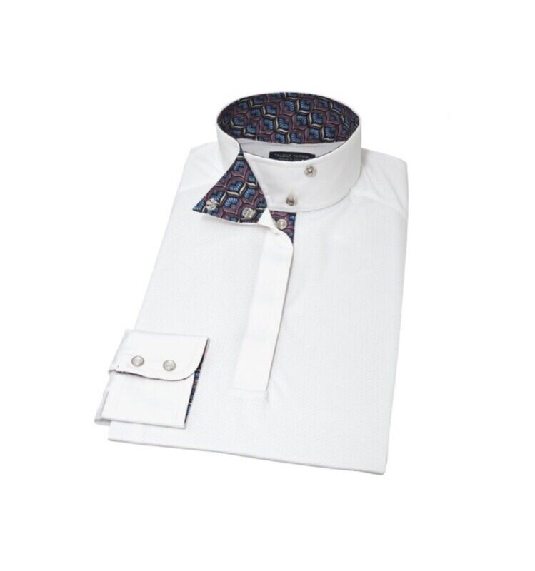 Essex Ladies Talent Yarn Straight Collar Show Shirt - Peacock Size M