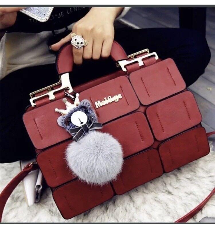 Women Splicing Jiugongge Hand Bag PU Leather Handbag