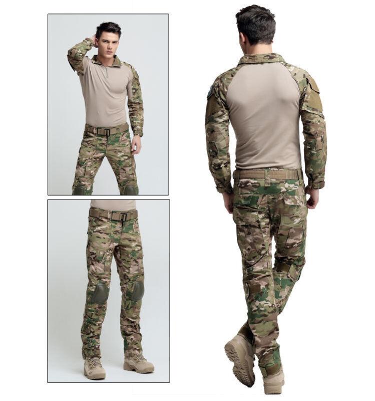 Men Tactical Combat Uniform Set ACU Army CP Military Elbow Knee Pads