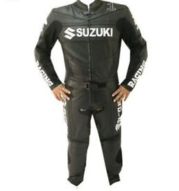 Suzuki GSXR Motorbike Leather Racing Suit! CE APPROVED ARMOUR!