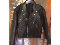 Men's 'JIM BEAN' Vintage Leather Biker Jacket Raid Team Badging Medium Black