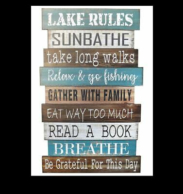 Lake House Rules Sign PHOTO Lake House Cabin Fishing Decor Wall Photo Decoration ()