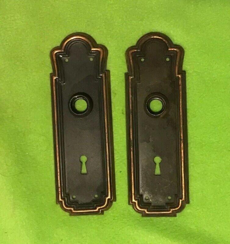 Antique ~ Door Knob Back Plates ~ Brass ~ Skeleton Key Hole ~ Decorative ~ Set