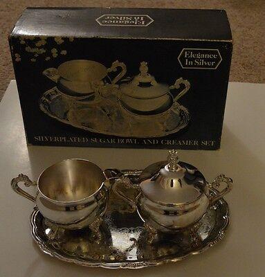 Elegance in silver Silverplated Creamer & Sugar Bowl Set