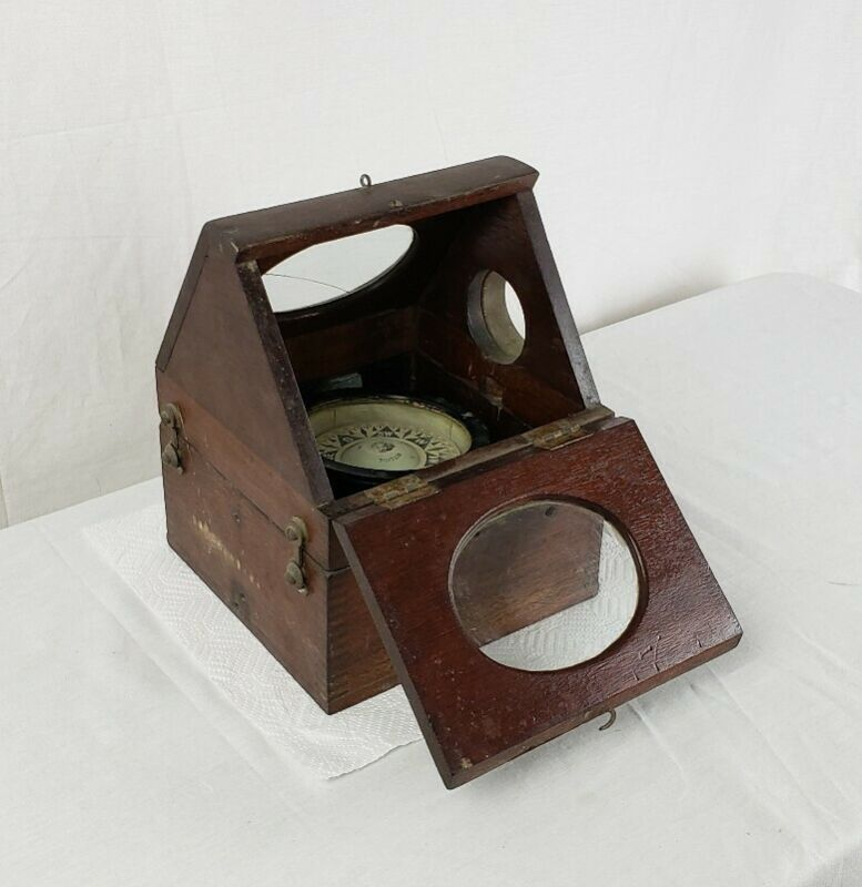 Antique Ritchie Boston Ships Compass In Wooden Box With Glass Windows