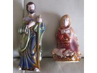 PRETTY CHRISTMAS DECORATION, CHINA NATIVITY FAMILY, 2 PIECE SET, JOSEPH, MARY & BABY vgc