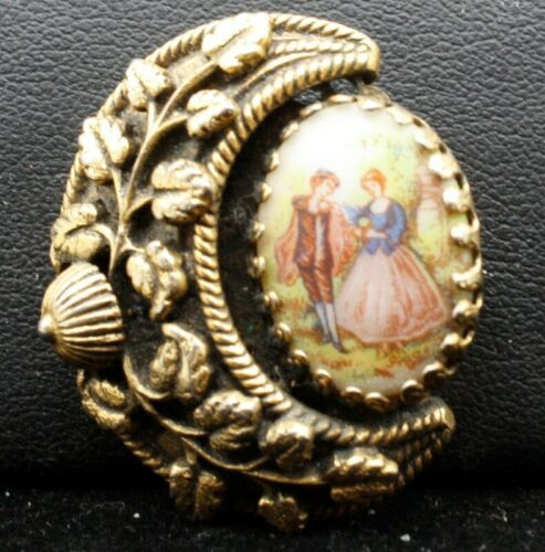 Vintage SIGNED FREIRICH Cameo colorful couple