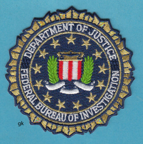 "DEPARTMENT OF JUSTICE  FBI SEAL  GOLD  POLICE SHOULDER PATCH  ( 3 1/4"" )"