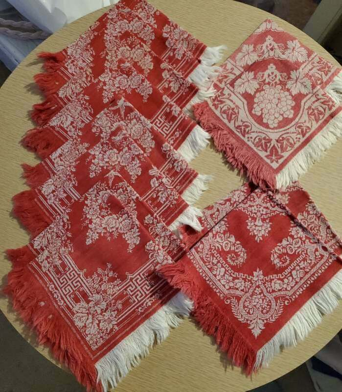 12 Antique Turkey Red Napkins Floral Damask Red & White Fringe 14.5x13.5