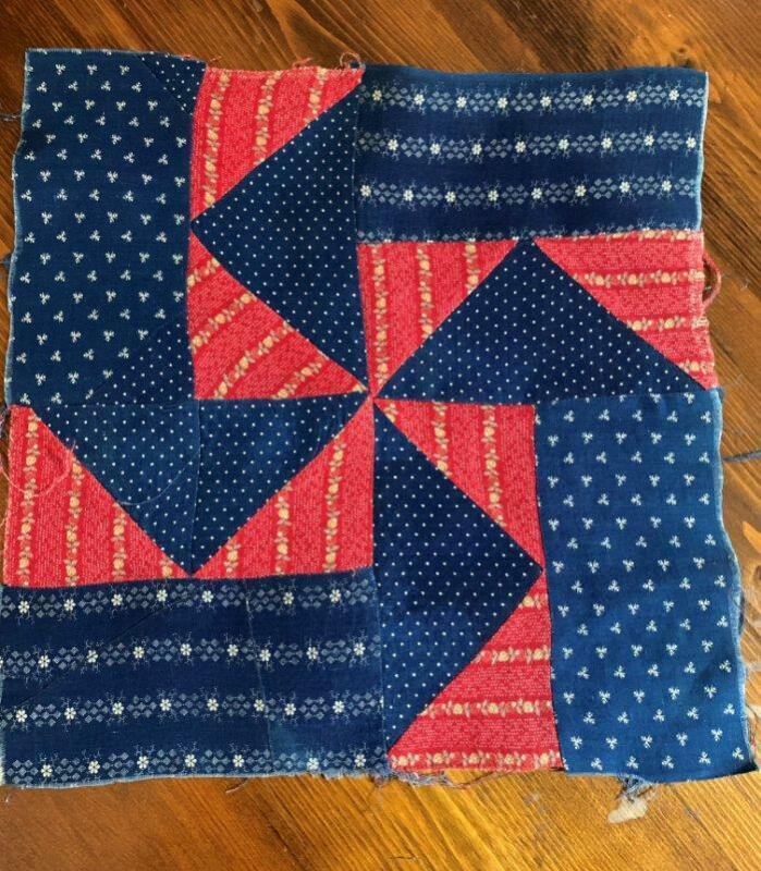 Antique Fabric Quilt Block Pinwheel Indigo Blue Turkey Red 12x12