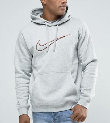 Mens Nike Fleece Logo Hoodie Pullover Jumper Sweatshirt Casual Grey S M L XL