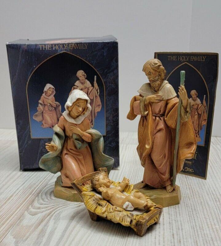 "1992 Fontanini Heirloom Nativity 5"" Collection 3 Pc. Holy Family Set w/ Box"