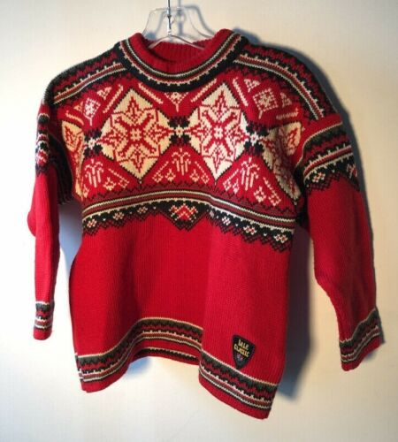 DALE OF NORWAY Kids 8 Dale Classic WOOL Nordic Sweater Ski Team Red Bin-Y