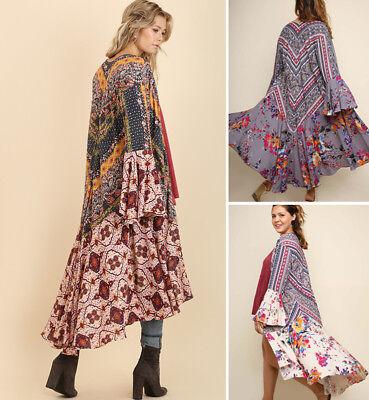 (S-2X UMGEE Long Kimono Cardigan Duster Open Front Boho Print Bell Sleeve Jacket )