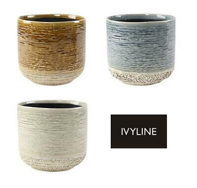 Ivyline Coastal Vasto Textured Glazed Planter Flower Pot Mustard Denim Ivory