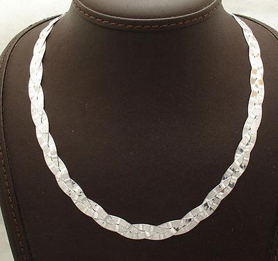 Reversible Triple Greek Key Herringbone Chain Necklace Solid Sterling Silver