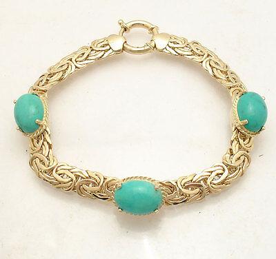 All Shiny Genuine Turquoise Gemstone Byzantine Bracelet REAL 14K Yellow Gold  All Fine Jewelry Turquoise Bracelet