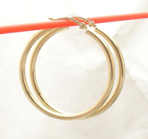 2mm X 30mm Plain Shiny Hoop Earrings REAL 10K Yellow Gold FREE SHIPPING