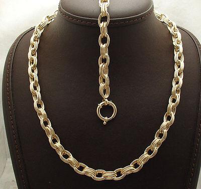 Technibond Triple Oval Link Bracelet Necklace Set 14K Yellow Gold Clad Silver