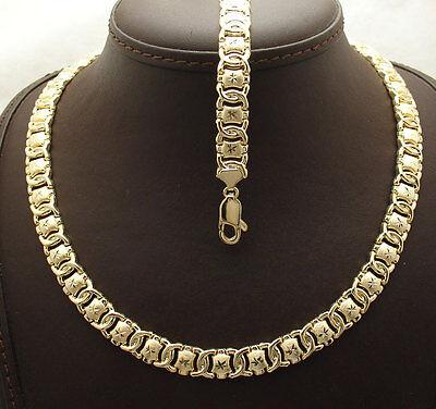 Diamond Cut Hugs & Kisses Bracelet Necklace Set 14K Yellow Gold Clad 925 Silver