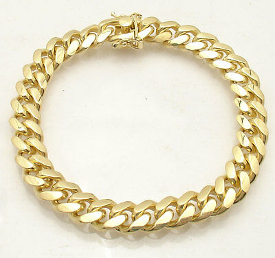 "8.5"" Solid Italian Miami Cuban Bracelet Double Lock 14K Yellow Gold Clad Silver"