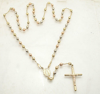 "5mm 25""  Mens Cross Crucifix Rosary Chain Necklace Real 14K Tri-Color Gold"