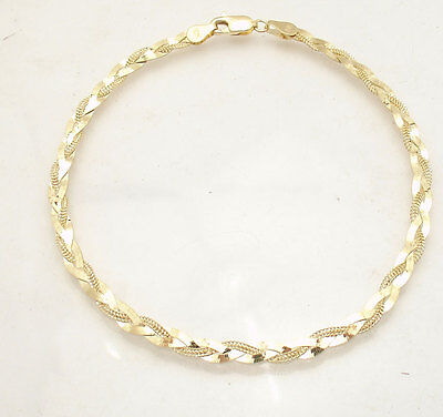 """10"""" Braided Fox Tail Chain Ankle Bracelet Anklet Real Solid 10K Yellow Gold"""
