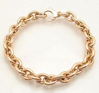 (High Polished 8.25mm Oval Rolo Link Charm Bracelet  Real 14K Rose Pink Gold QVC)