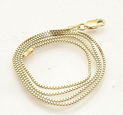 - 1mm Italian Venetian Square Box Chain Necklace 14K Yellow Gold Clad 925 Silver