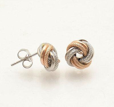 Italian Textured Love Knot Rosetta Stud Earrings Real 10K Rose Pink White (White Gold Love Knot Earrings)