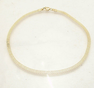 "10""  3mm Bizmark Bismark Chain Ankle Bracelet Anklet Real Solid 10K Yellow Gold"