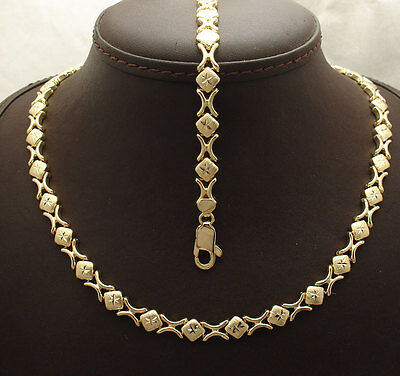 Diamond Cut Hugs & Kisses Bracelet Necklace Set 14K Yellow Gold Clad Silver 925