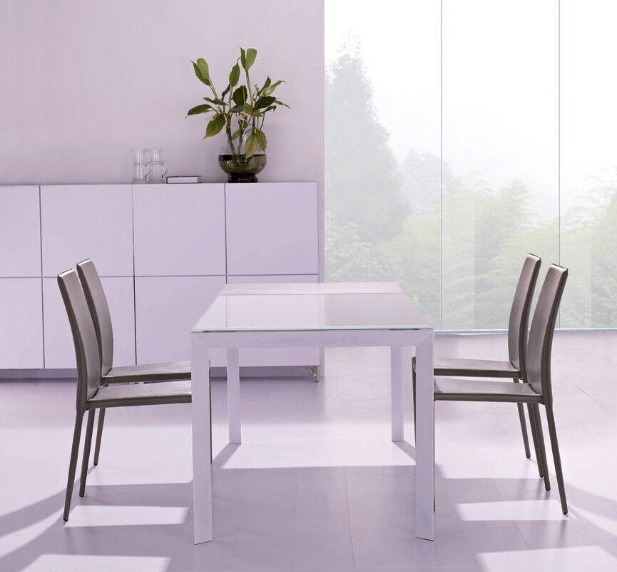 Tavolo bianco allungabile moderno in vetro bianco cucina for Tavolo in vetro moderno