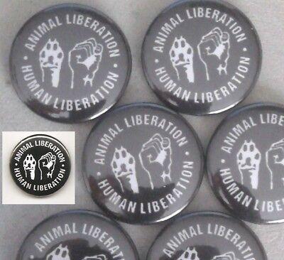 1x Animal Liberation Button Vegan Animal Rights sXe Punk HC Vegetarian Tofu ALF