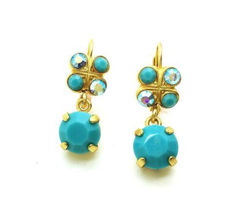 Mariana Earrings Flattering Butterfly Shape Turquoise & AB Crystal Swarovski ...