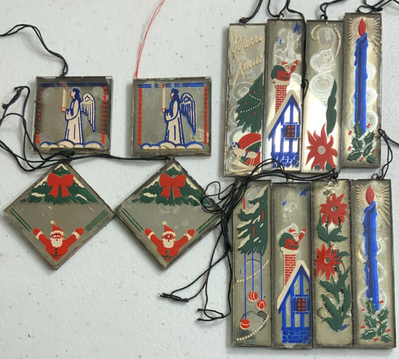 Hand-painted Mirror Christmas Ornaments Set Of 12 WWII era 1940s