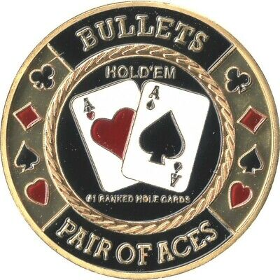 "ORIGINAL POKER CARD GUARD ECHT VERGOLDET ""BULLETS"""