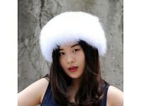 DAYMISFURRY---Handmade Fox Fur Headband In White